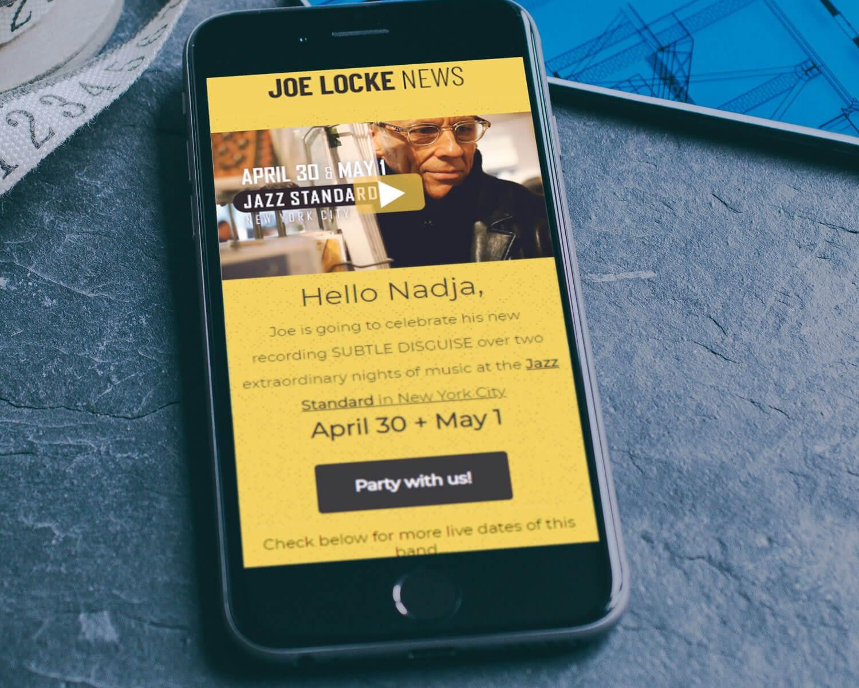 Joe Locke promo email